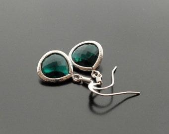 Emerald Dangle Earrings - Also Available in Gold, Green Drop Earrings, May Birthstone, Bridal Earrings, Bridesmaid Earrings, Wedding Jewelry