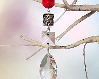 Dove Suncatcher, Christmas Ornament, Ruby Glass, Crystal Prism, 1S-54