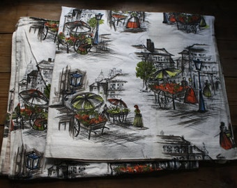 Vintage curtains, barkcloth, fifties, paris, vintage fabric, pair of curtains, retro curtains,