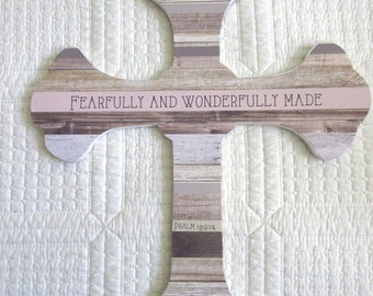 Large Wooden Cross Wood Cross Driftwood Cross Fearfully and Wonderfully Made Nursery Decor Beadboard Cross Psalm 139