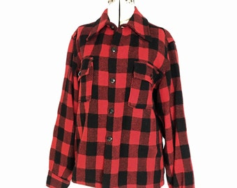 Wool Work Shirt Small Red and Black Buffalo Plaid Flannel Elk Mills 1950's Rugged Lumberjack Outdoor Style