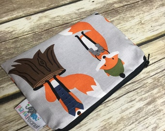 Reusable Snack Bag, Reusable Zipper Bag, Reusable Sandwich Bag, Zipper Pouch, Reusable, Camping Foxes Snack Bag, Lunch Bag, Reusable Bag
