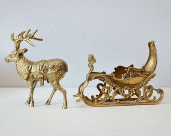 Brass Reindeer - Vintage Christmas Decor - Reindeer and Sleigh - Holiday Home Decor