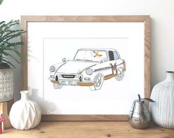 MGB GT car - Ink and collage illustration