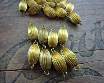 Brass Oval bead Links Vintage (4 Links 8 beads total)