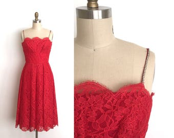 vintage 1950s dress | 50s bombshell lace dress