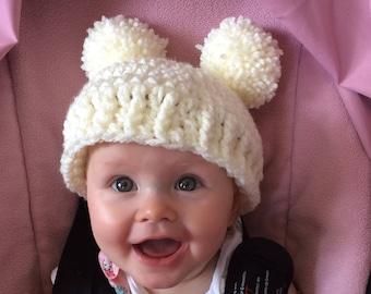 Double pom pom winter hat
