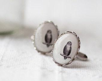 Vintage Owl Cufflinks, Wedding cufflinks, White cufflinks, Silver Cufflinks, Retro style cufflinks, Bird cufflinks, Vintage style cufflinks