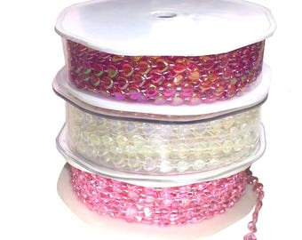Heart Pearl Beading String Trimming 1mt - 10 mt roll Red Pink or Clear