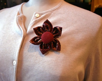 Faux Snack Skin Fabric Flower Brooch, Flower Pin - Handmade Fabric Flower