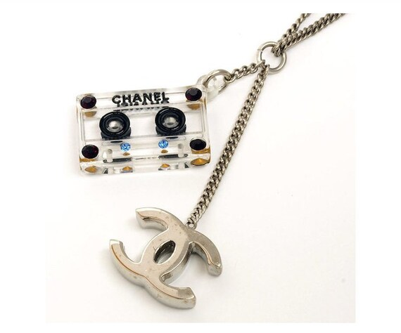Clear Crystal on Silver Plated Large Tape Cassette Necklace taCeg