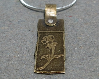Etched Brass Pendant Flower Necklace Sterling Silver Chain Oxidized Brass Gift for Girlfriend