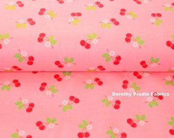 FABRIC SEW CHERRY 2 Retro Cherries on Pink    We combine shipping