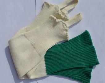 Vintage Soviet Football Mens Socks Football Gaiters Uppers Football Leg Warmers -Green and White for Football Fans Great Guy Gift
