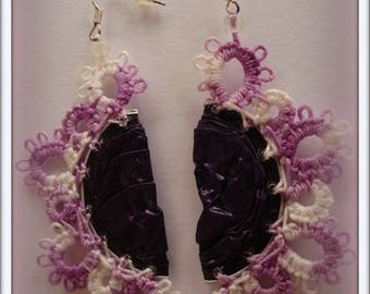 Ears/woman/tatting lace ear jackets earrings has the needle/handmade lace