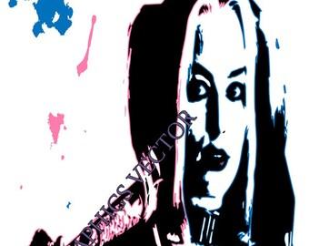 Print Art Poster Harley Quinn in vector, Print Superhero
