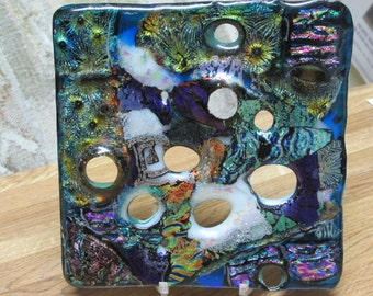 """ON SALE Dichroic glass Sculpture Abstract with stand """"Worm Holes in space"""""""
