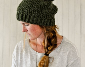 Chunky Knit Hat / The Juliette / Green