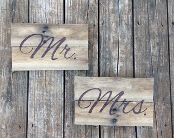 Mr. and Mrs. signs -handmade and hand engraved