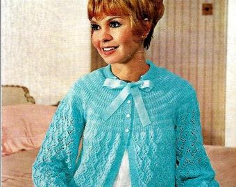 WENDY 855 Vintage Ladies Bed-Jacket Knitting Pattern Instant Download!
