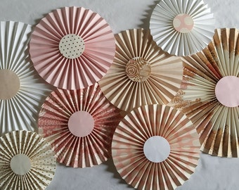 Set of 8–Pink and Gold Paper Rosettes–Pinwheel Backdrop Décor–Candy Buffet Decorations–Wall Décor–Bridal Shower Décor–Pink & Gold Paper Fans