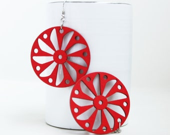 Buy 3 Get 1 FREE/Red Windmill Laser Cut Naturally  Beauty from Wood.
