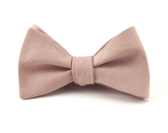Dusty Rose Bow Tie, Mens Pale Pink Bowtie, Groom's Tie, Dusty Rose Wedding - Traditional Self-Tie or Pre-Tied