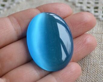2pcs Cabochon 30x22mm Oval Cat's Eye Glass Pendant Turquoise Blue