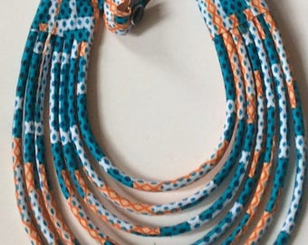 Necklace blue and orange wax