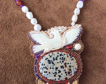 Rising From The Ashes - Phoenix Art Necklace - Bead Embroidery - Statement Necklace - Hand Made Jewelry