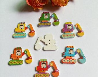 Set of 5 wood backhoe buttons