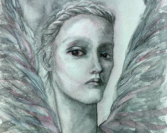 A4 Limited Edition Print of original watercolour painting 'Angel'