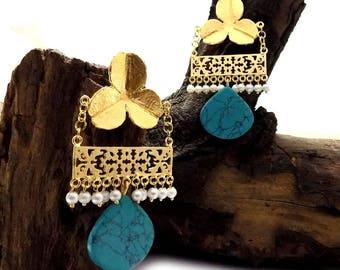 Turquoise earring,filigree earring,pearl beaded earring,pear shape earring,drop & dangle earring,designer earring