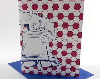 Philadelphia Letterpress Card   Liberty Bell   blue & red single blank greeting card with envelope