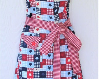 Stars and Stripes Apron, Red White and Blue, Patriotic Apron, July 4th, Gingham Apron, Patchwork, Womens Full Apron, KitschNStyle