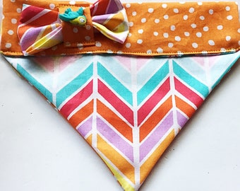 Colorful Over the Collar Chevron Bandana for Dogs and Cats
