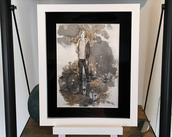 Unknown Explorer. Original Mixed Media Painting. Framed.
