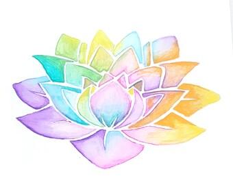 Lotus Flower, Yoga Art, Yoga Studio Decor, Yogi, Zen Office Decor, Yoga Artwork, Buddha Wall Art, Yoga Gifts, Mindfulness Gift, Rainbow