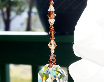 Crystal Ceiling Fan Pull Chain, Swarovski Crystal Light Pulls, Brown Room Decor, Hanging Crystals, Prism Suncatcher for Ceiling Fan Pull