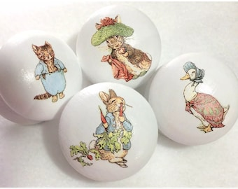 6  x Gorgeous Handpainted and Decoupaged Beatrix Potter Peter Rabbit Large 2 inch Drawer Knobs
