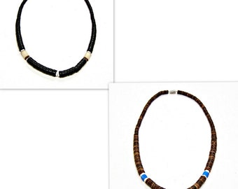 Surfer Necklace Black or Brown Graduated Coco Beads 18 inches 7068