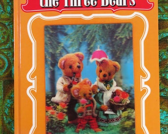 Vintage 70s 3D lenticular children's book - Goldilocks and the Three Bears - Giant 3D fairy tale book