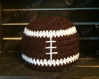 Crochet Brown Football Hat Beanie Newborn Baby Size