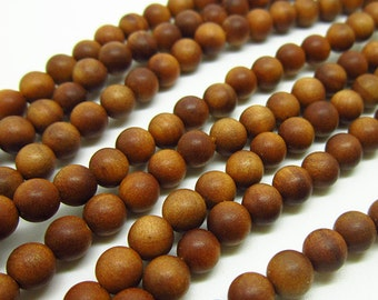 108pc  6mm Fragrant Sandalwood  Natural  Mala Bead