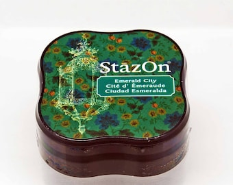 StazOn Solvent Midi Ink Pad in Emerald City -- Tsukineko -- NEW SIZE