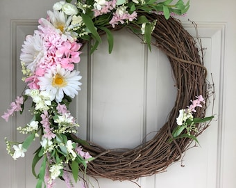Darling Spring/Summer 18 inch Grapevine, indoor/outoor* Wreath made with soft pinks and cream