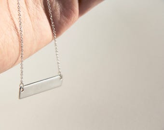 Silver custom stamped necklace, sister mother daughter gift, dainty/minimalist style, personalized, name/bar necklace.