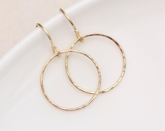 Gold Hoop Earrings, Simple Light hoop earrings, Hammered Gold Earrings, Jewelry Gift for Her, geometric earrings