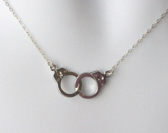 Silver Handcuff Necklace - Handcuff Pendant Necklace - Sterling Silver Necklace