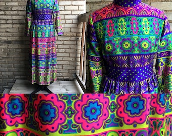 Psychedelic Neon Electric Alex Colman Petite Maxi Dress 1970s COLORFUL